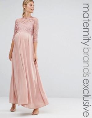 Queen Bee Платье макси c кружевной отделкой. Цвет: розовый
