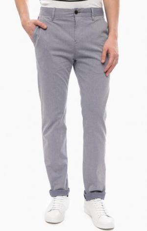 Синие зауженные хлопковые брюки Strellson. Цвет: синий