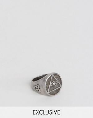 Seven London Серебристое кольцо с печаткой. Цвет: серебряный
