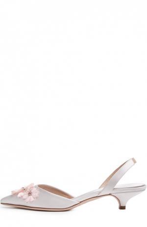 Сатиновые туфли с аппликацией Giambattista Valli. Цвет: светло-розовый
