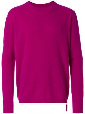 Классический трикотажный свитер Laneus. Цвет: розовый и фиолетовый