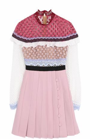 Мини-платье с кружевным лифом и юбкой в складку self-portrait. Цвет: розовый