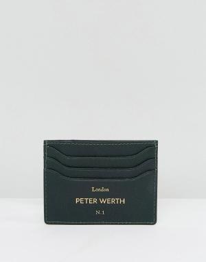 Peter Werth Зеленая визитница. Цвет: зеленый