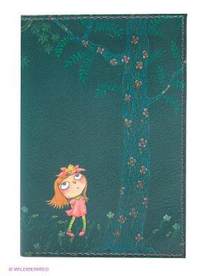 Обложка для автодокументов Девочка в розовом платье ночью Mitya Veselkov. Цвет: зеленый, голубой