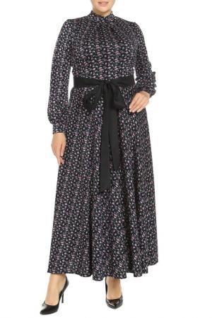 Платье с поясом Classic Fashion. Цвет: темно-синий, розовый