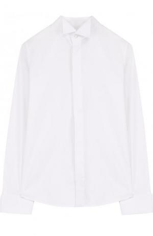 Хлопковая сорочка с воротником бабочка Dal Lago. Цвет: белый