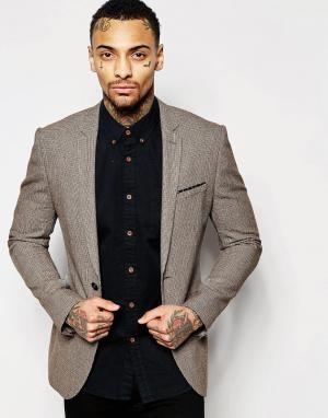 ASOS Коричневый пиджак суперузкого кроя в ломаную клетку WEDDING. Цвет: коричневый