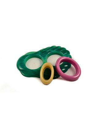 Пряжка Волшебная пуговица Ракушка и кольцо для шарфа madam Пряжкина. Цвет: зеленый, лиловый, темно-бежевый