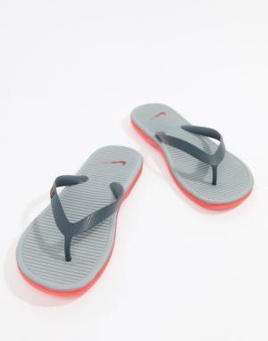 Nike Серые шлепанцы Solarsoft II 488160-069. Цвет: темно-синий