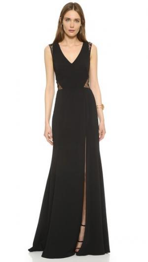 Вечернее платье с кружевными вставками Marchesa Notte. Цвет: голубой
