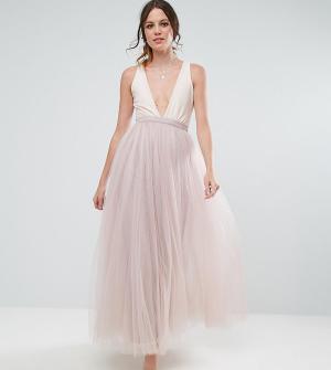 Little Mistress Tall Платье макси с юбкой из тюля. Цвет: розовый