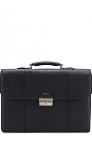 Кожаный портфель с плечевым ремнем Canali. Цвет: темно-синий