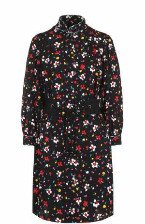 Шелковое мини-платье с принтом и поясом Marc Jacobs. Цвет: черный