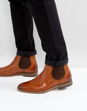 ASOS Светло-коричневые кожаные ботинки челси с контрастной подошвой. Цвет: рыжий
