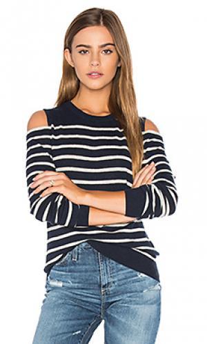 Полосатый свитер с открытыми плечами Autumn Cashmere. Цвет: синий