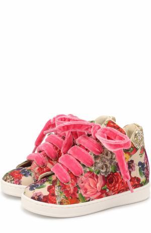 Текстильные кеды с принтом и глиттером Monnalisa. Цвет: разноцветный