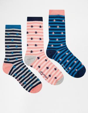 Penguin Набор из 3 пар женских носков в розовую полоску. Цвет: мульти
