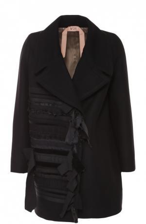 Пальто прямого кроя с декоративной отделкой No. 21. Цвет: черный
