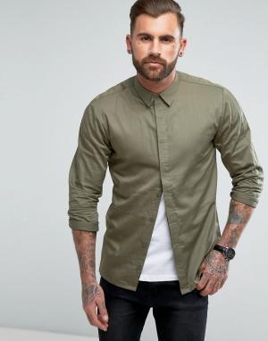 Another Influence Узкая рубашка со вставками. Цвет: зеленый