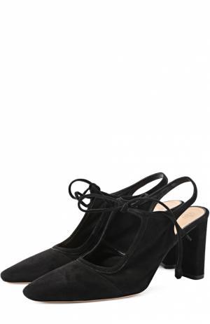Замшевые туфли на устойчивом каблуке The Row. Цвет: черный