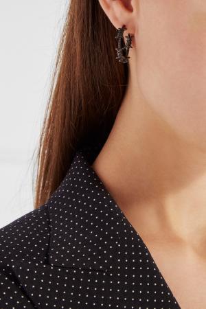 Серебряные серьги True Love Caviar Jewellery. Цвет: серый