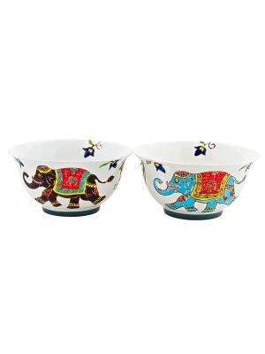 Набор из 2-х пиал Слон 13см в п/у Elff Ceramics. Цвет: белый, голубой