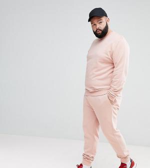 ASOS Розовый спортивный костюм с обтягивающим свитшотом и джоггерами скинни. Цвет: розовый