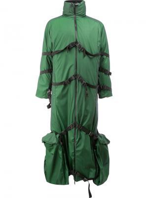 Длинное пальто с декоративными стяжками Cottweiler. Цвет: зелёный