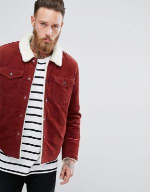 ASOS Вельветовая куртка в стиле вестерн с подкладкой из искусственного меха. Цвет: оранжевый