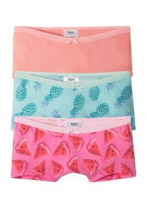 Шортики, 3 штуки. Цвет: аква пастельный/светло-розовый/светло-коралловый
