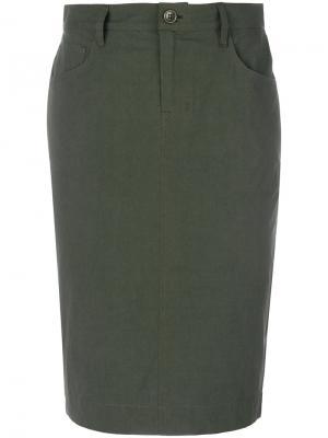 Спортивная юбка из поплина Tomas Maier. Цвет: зелёный