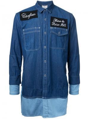 Джинсовая рубашка Maison Mihara Yasuhiro. Цвет: синий