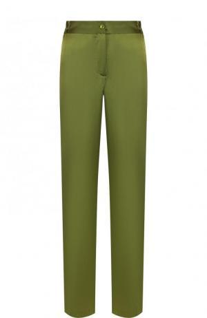 Шелковые брюки прямого кроя с контрастными лампасами Equipment. Цвет: зеленый