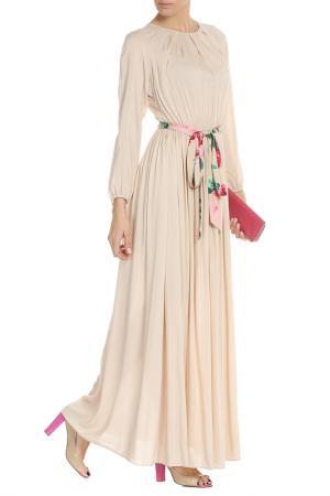 Однотонное платье с цветным поясом NATALIA PICARIELLO. Цвет: бежевый
