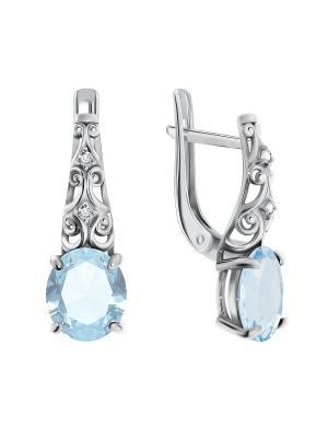 Серебряные серьги KRASNOE. Цвет: серебристый, голубой