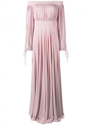 Длинное платье с открытыми плечами Alexander McQueen. Цвет: розовый и фиолетовый