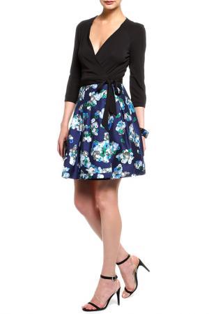 Платье DIANE VON FURSTENBERG. Цвет: черный, синяя юбка с принтом
