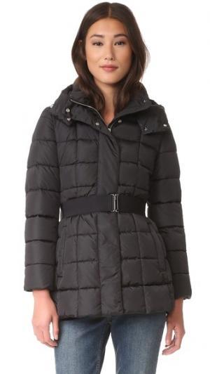 Пуховая куртка с поясом Add Down. Цвет: голубой