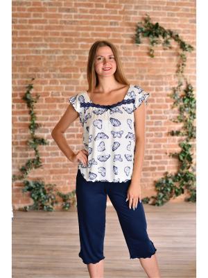 Костюм (футболка,штаны) Весталия. Цвет: темно-синий, молочный