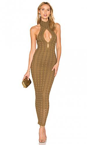 Макси платье sybil Ronny Kobo. Цвет: оливковый