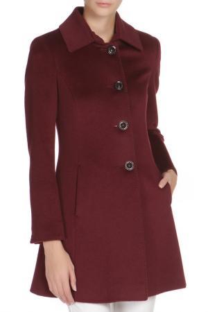 Полуприлегающее пальто с застежкой на пуговицы Cinzia Rocca. Цвет: бордовый