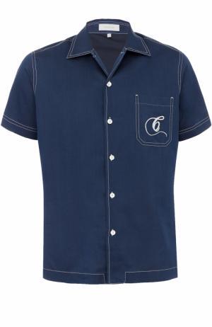 Рубашка из смеси шелка и хлопка с короткими рукавами Cortigiani. Цвет: синий