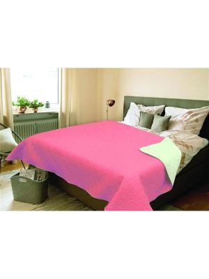 Покрывало Amore Mio Verdo 2,0 сп. Euro Розовый/Зеленый. Цвет: лиловый