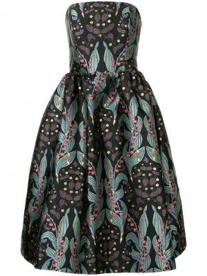 Платье с открытыми плечами и цветочным принтом Ingie Paris. Цвет: чёрный