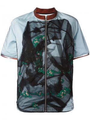 Куртка с короткими рукавами и прозрачной вставкой Quetsche. Цвет: чёрный