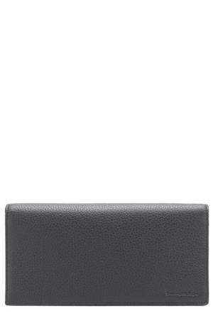 Кожаный бумажник с отделениями для кредитных карт и монет Ermenegildo Zegna. Цвет: темно-синий