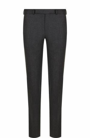 Шерстяные брюки прямого кроя Ermenegildo Zegna. Цвет: темно-серый