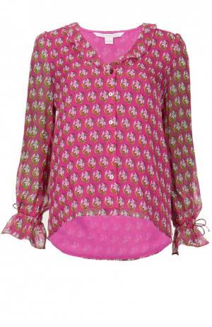 Шелковый топ с ярким принтом и V-образным вырезом Diane Von Furstenberg. Цвет: разноцветный
