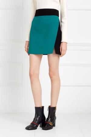 Шерстяная юбка Fausto Puglisi. Цвет: зеленый, черный