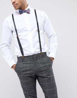 7X Кожаные подтяжки с узором тартан и галстук-бабочка. Цвет: синий